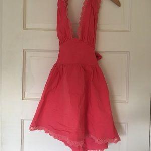 Backless pink halter dress, worn once
